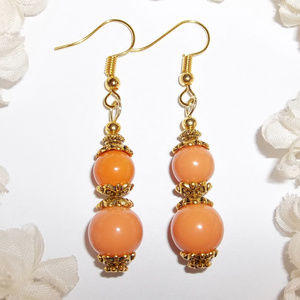 Orange and Gold Beaded Earring Set Dangle NWT 5042